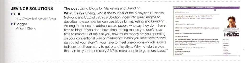Feature Article in Adveritising and Marketing Magazine May 2009 Issue